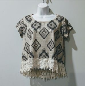 Rewind tan tribal lace crop top